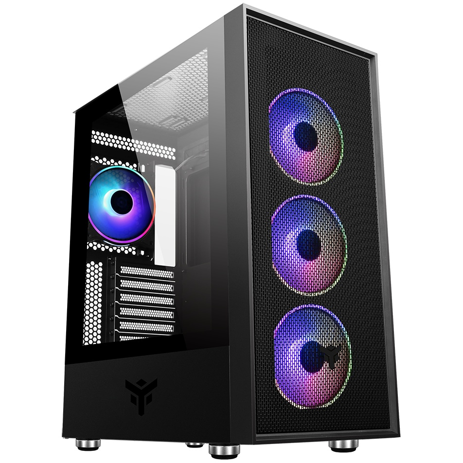 Case vertibra h210 - gaming middle tower, 4x12cm argb fan, 2xusb3, side panel temp glass