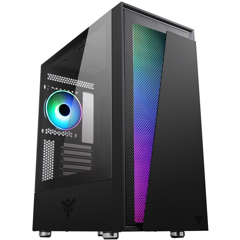 Case vertibra v210 - gaming middle tower, 12cm argb fan, 2xusb3, side panel temp glass