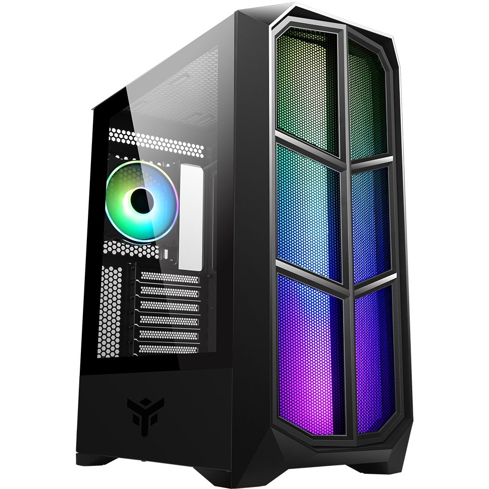 Case vertibra y210 - gaming middle tower, 12cm argb fan, 2xusb3, side panel temp glass