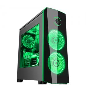 Case origin black green - gaming middle tower, usb3, 2x12cm led fan, trasp wind