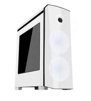 Case origin white black - gaming middle tower, usb3, 2x12cm led fan, trasp wind