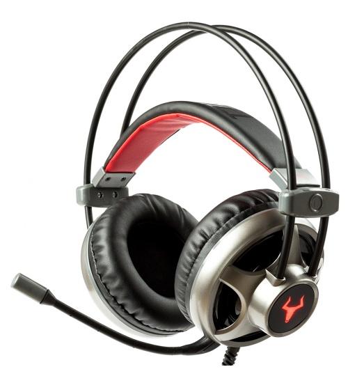 Cuffie gaming taurus h322 - led rosso, microfono regolabile, controllo volume, 3.5mm plug