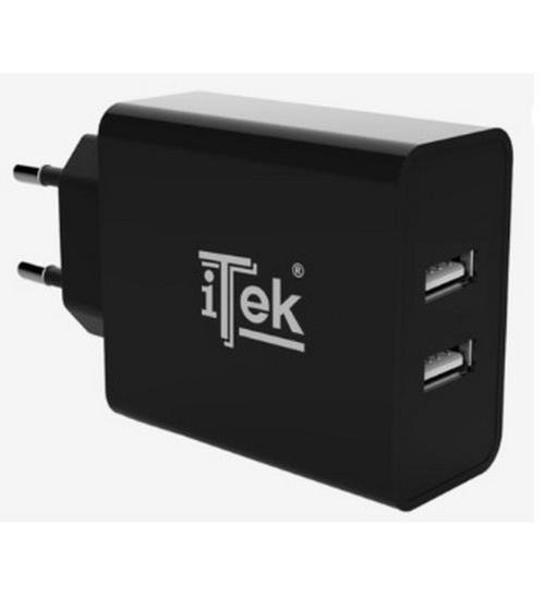 Itek caricabatteria da muro da 24w 4.8a (2x2,4a) - 2 porte usb smart smart