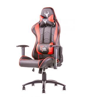 Itek gaming chair taurus p3 -  pelle sintetica pu, doppio cuscino, braccioli regolabili, nero rosso