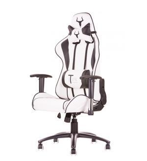 Itek gaming chair taurus p3 -  pelle sintetica pu, doppio cuscino, braccioli regolabili, bianco nero