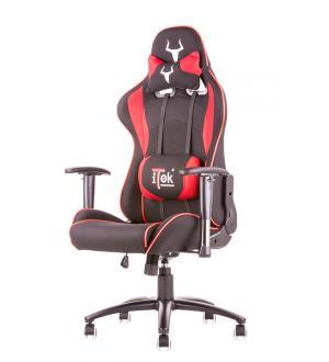 Itek gaming chair taurus s2 -  tessuto, doppio cuscino, braccioli regolabili, nero rosso