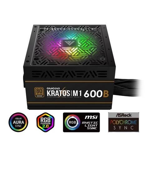 Gamdias alimentatore kratos m1-600b 600w neon-flex rgb 80 plus bronze