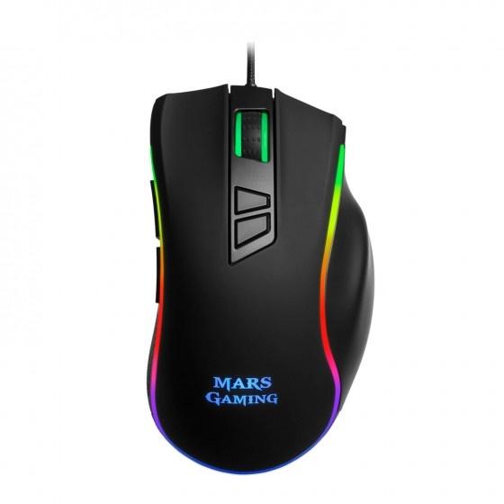 Mars gaming mm318 gaming mouse da 24000dpi full black con illuminazione rgb