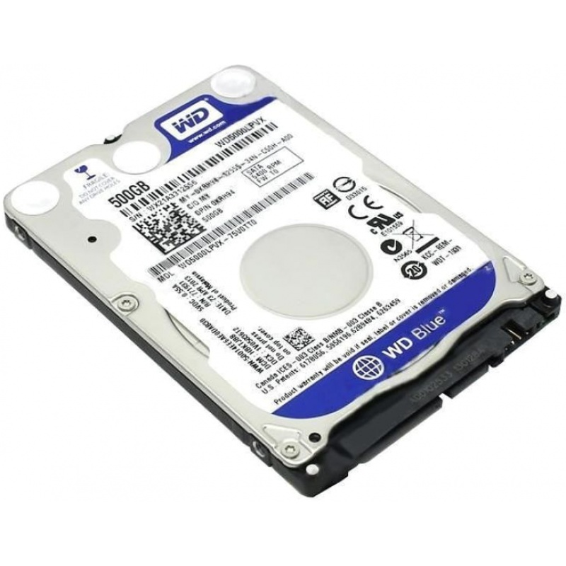 Hard Disk 2,5 500gb 5400rpm 8mb sata3 blue wd blue slim 6mm reworked