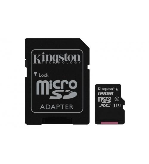 Sd micro 128gb cl10 uhs-i con adatt 80mb/s let.10mb/s scrit.kingston