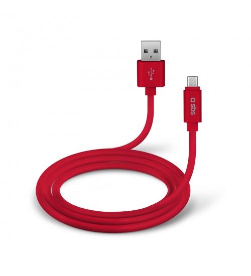Cavo lungo 1 m della collezione polo, con connettori usb e micro usb per la ricarica ed il trasferimento dati, colore rosso