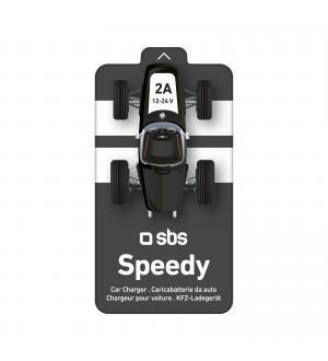 Caricabatterie da auto con 1 uscita usb da 2 a in confezione macchina da corsa, colore nero