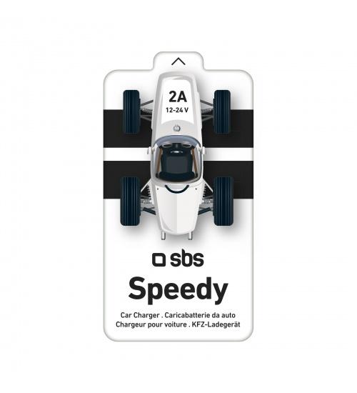 Caricabatterie da auto con 1 uscita usb da 2 a in confezione macchina da corsa, colore bianco