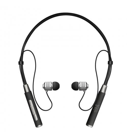 Auricolari stereo multipoint wireless v.5.0 con finitura in metallo, laccio da collo flessibile e tasti multifunzione