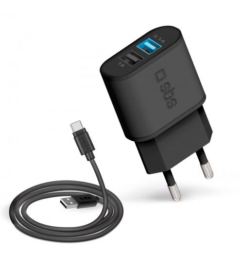 Caricabatterie da parete dotato di due uscite usb (1a e 2.1a con tecnologia intelligent charge) e cavo di ricarica con connettori usb e type c