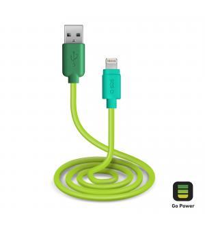 Cavo per l'alimentazione ed il trasferimento dati con connettori usb 2.0 e lightning lungo 1 metro, colore verde