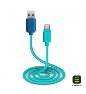 Cavo per l'alimentazione ed il trasferimento dati con connettori usb 2.0 e micro usb lungo 1 metro, colore blu