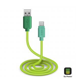 Cavo per l'alimentazione ed il trasferimento dati con connettori usb 2.0 e micro usb lungo 1 metro, colore verde