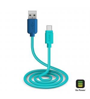 Cavo per l'alimentazione ed il trasferimento dati con connettori usb 2.0 e type c lungo 1 metro, colore blu