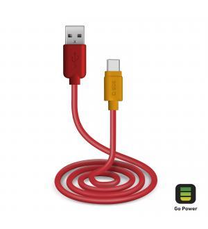 Cavo per l'alimentazione ed il trasferimento dati con connettori usb 2.0 e type c lungo 1 metro, colore rosso