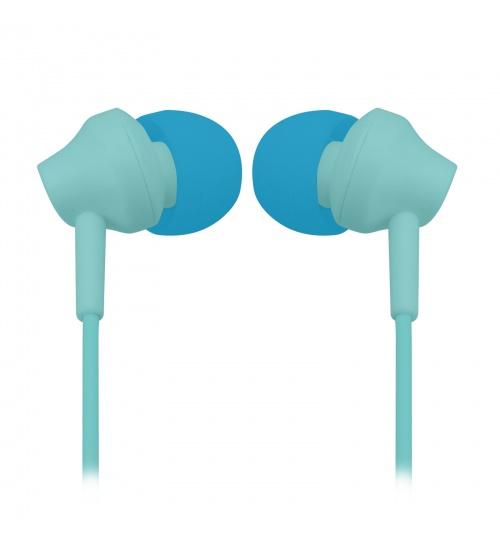 Auricolari stereo con microfono integrato, cavo jack universale 3,5 mm e tasto di inizio/fine chiamata, colore blu