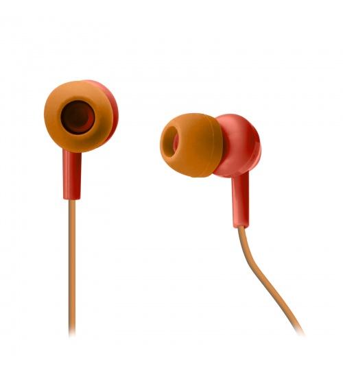Auricolari stereo con microfono integrato, cavo jack universale 3,5 mm e tasto di inizio/fine chiamata, colore rosso