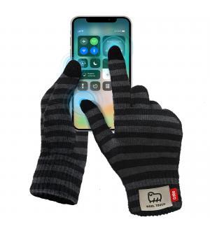 Guanti invernali utilizzabili con schermo touch, taglia l, colore nero - grigio scuro