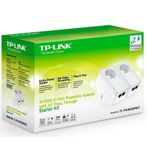 Tp-link av500 powerline nano 2 porte e presa passante