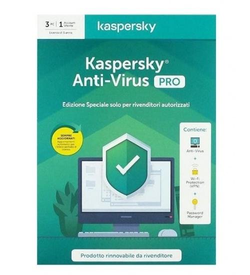 Kaspersky antivirus PRO per 3 PC 1 anno