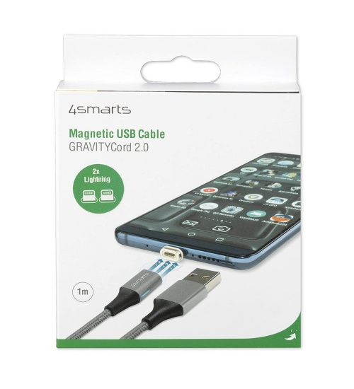 Cavo magnetico USB GRAVITYCord 2.0 1m grigio con Due connettori Lightning