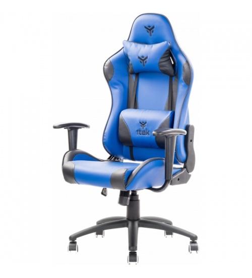 Sedia gaming blu e nera Itek Playcom PM20 con doppio cuscino e schienale reclinabile
