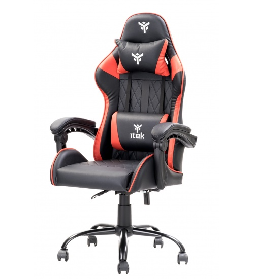 Sedia gaming nera e rossa itek rhombus pf10 con schienale reclinabile