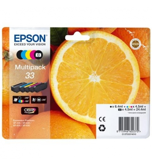 Cartucce Epson 33 arancia multipack  nero e colori