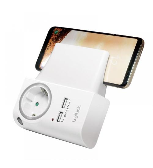 Alimentatore per smartphone con 2 porte USB, presa shuko passante e porta telefono