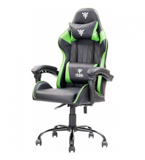 Sedia gaming nera e verde itek rhombus pf10 con schienale reclinabile