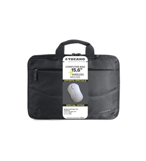 Borsa per Notebook da 15,6 Tucano Slim colore nero con mouse wireless